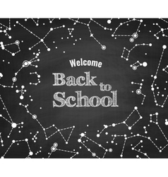 Constellations pattern with Back to School vector image