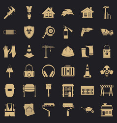 construction production icons set simple style vector image