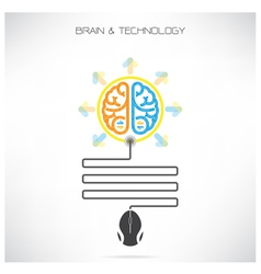 Creative brian symbol with computer mouse sign vector image