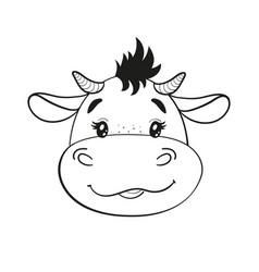 Cute cartoon baby bull line drawing bull cub vector