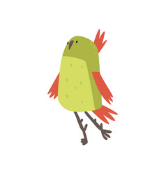 Cute cheerful bird funny birdie cartoon character vector