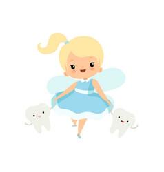 Cute little tooth fairy walking with bateeth vector