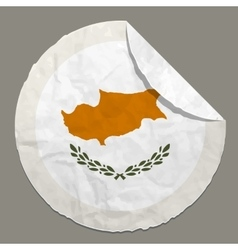 Cyprus flag on a paper label vector