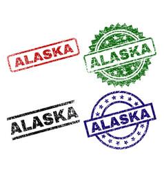 damaged textured alaska seal stamps vector image