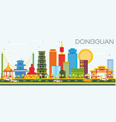 Dongguan skyline with color buildings and blue sky vector