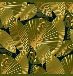 elegant gold exotic leaves seamless pattern vector image