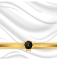 Elegant silk texture with gold ribbon and VIP tag vector image