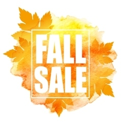 Fall sale poster with colorful watercolor leaves vector image