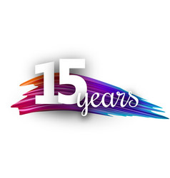 Fifteen years greeting card with colorful brush vector