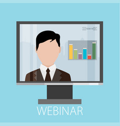 Flat design colorful concept for webinar online vector