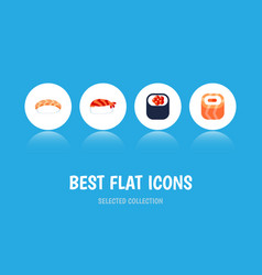 Flat icon sushi set of oriental seafood eating vector