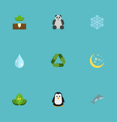 Flat icons bear winter snow sprout and other vector