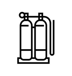 Gas cylinders for welding line icon vector