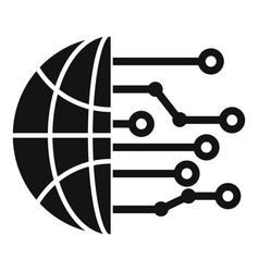 Global artificial intelligence icon simple style vector