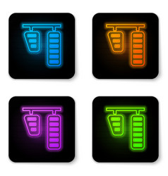 Glowing neon car gas and brake pedals icon vector