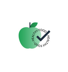 green apple with healthy food seal icon vector image