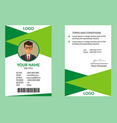 green awesome id card template vector image