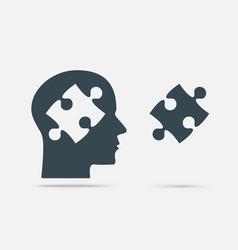Grey puzzle piece head jigsaw puzzle object vector