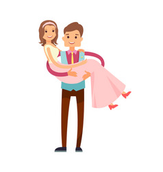 groom carrying bride poster vector image