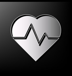 heartbeat sign gray 3d vector image