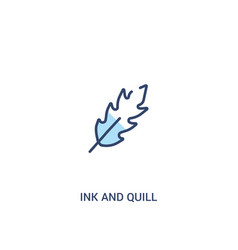Ink and quill concept 2 colored icon simple line vector