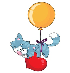 kitten and a balloon vector image
