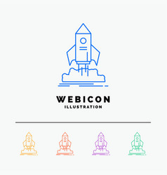 launch startup ship shuttle mission 5 color line vector image