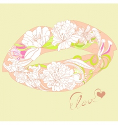 lips with floral ornament vector image