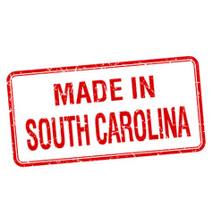 Made in south carolina red square isolated stamp vector