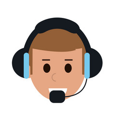 Man with headset custormer service or call center vector