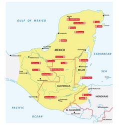 Map mayan empire with most important cities vector