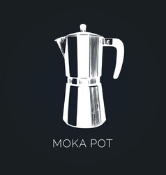 moka pot hand sketched maker vector image