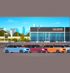 New vechicles over car dealership center showroom vector