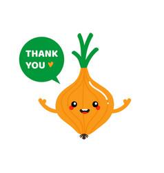 onion character saying thank you vector image