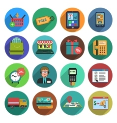 Online Shopping Flat Icon Set vector