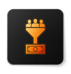 Orange glowing lead management icon isolated on vector