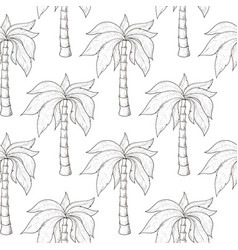 palm trees as seamless pattern hand drawn sketch vector image