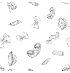 pasta collection hand drawn outline vintage vector image