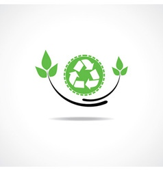 Recycle icon with green leaf design vector image
