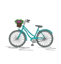Retro bicycle on a white background vector image