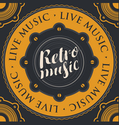 retro music banner with an acoustic loudspeaker vector image
