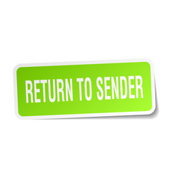Return to sender square sticker on white vector