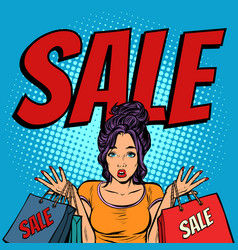 sale woman with bags vector image