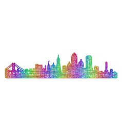 San Francisco skyline - multicolor line art vector image
