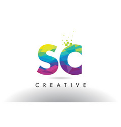 Sc s c colorful letter origami triangles design vector