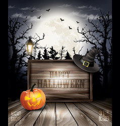 Scary halloween background with pumpkin and vector