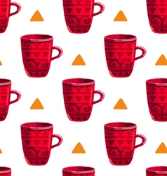 Seamless pattern with cartoon mugs-5 vector image