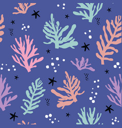 seaweeds flat handdrawn seamless pattern vector image
