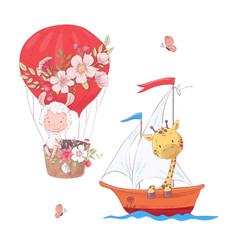 set cartoon cute llama balloon and giraffe on vector image