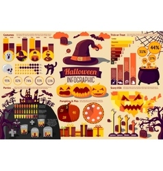 set halloween infographic elements with icons vector image
